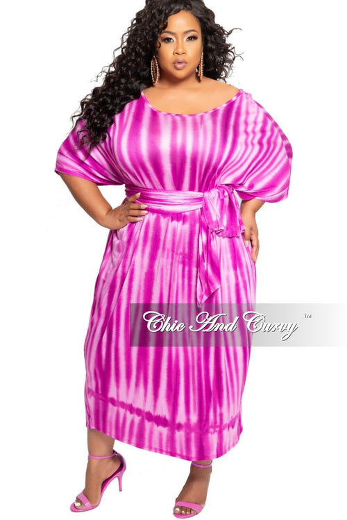 Final Sale Plus Size Oversize Dress with Matching Scarf/Belt in Pink Tie Dye Print