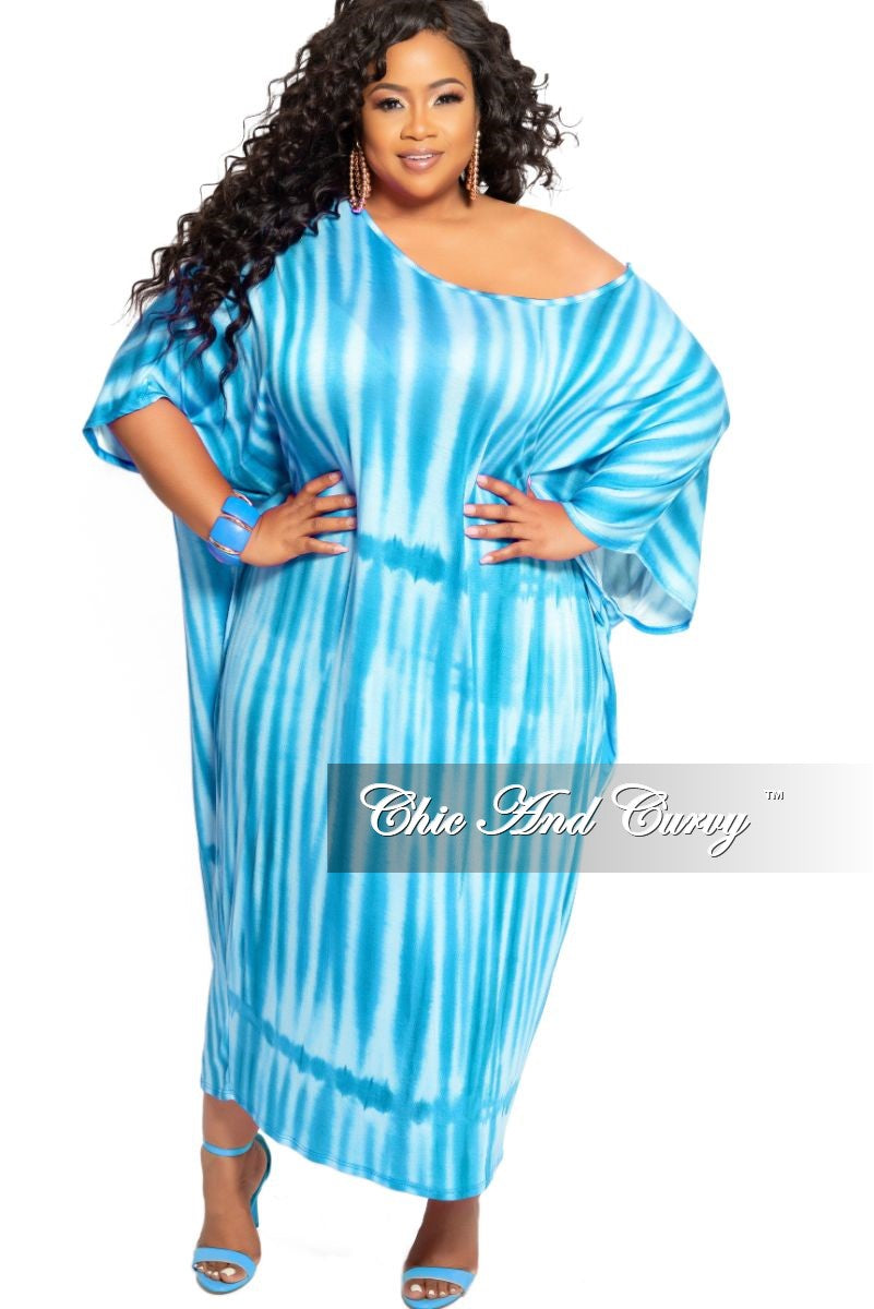 New Plus Size Oversize Dress with Matching Scarf/Belt in Blue Tie Dye Print