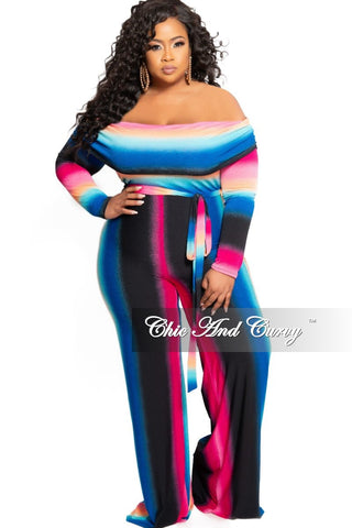 New Plus Size 2-Piece Collared Button Top and Pants Set in Multi Color Print