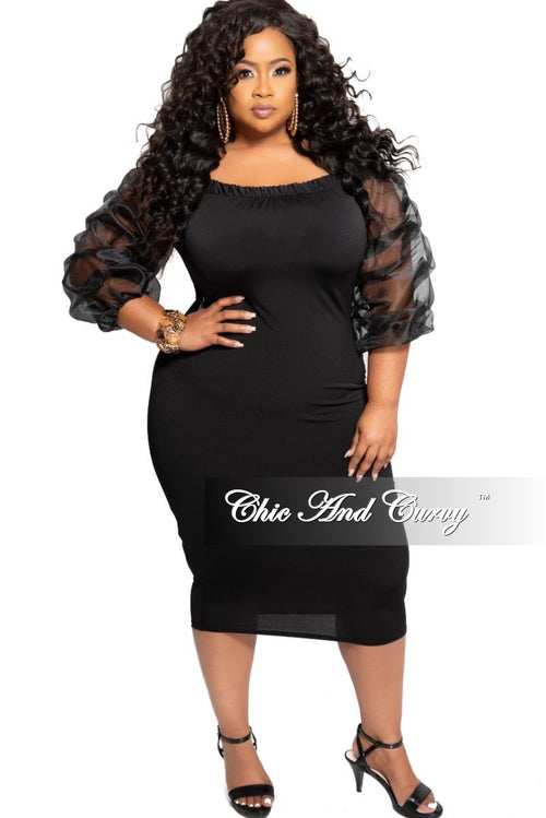 e3516b2f9 FInal Sale Plus Size Off the Shoulder BodyCon Dress with Ruched Sheer  Sleeves in Black