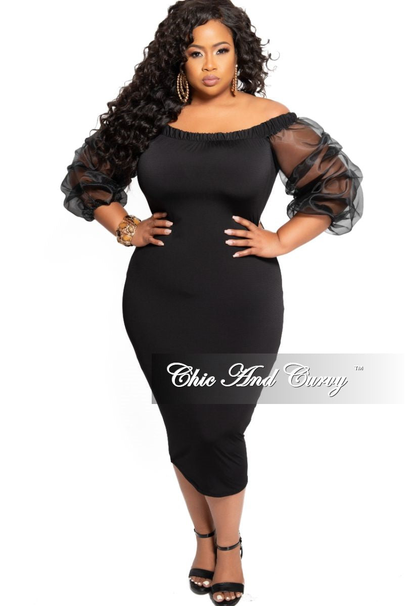 FInal Sale Plus Size Off the Shoulder BodyCon Dress with Ruched Sheer Sleeves in Black