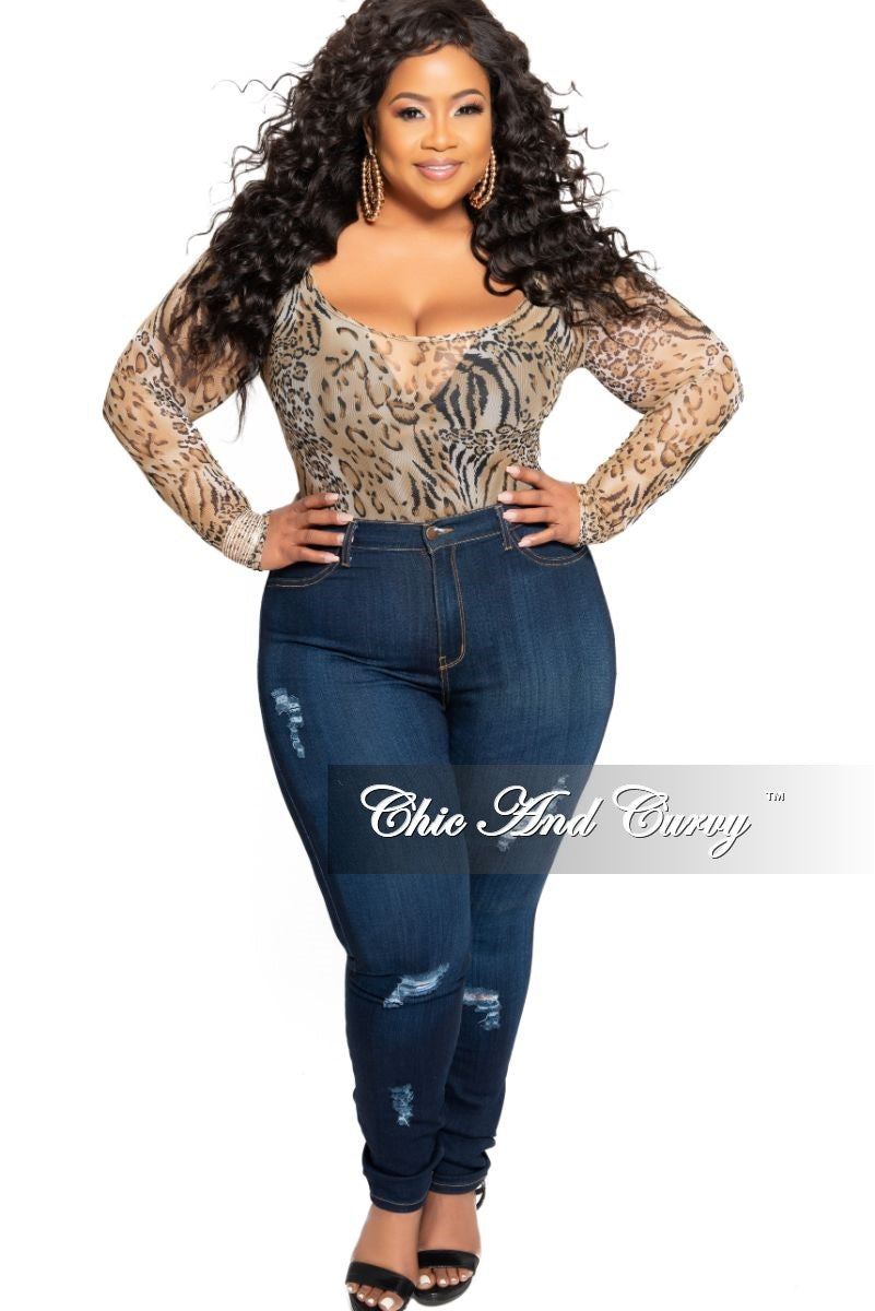 Final Sale Plus Size Mesh Bodysuit in Animal Print