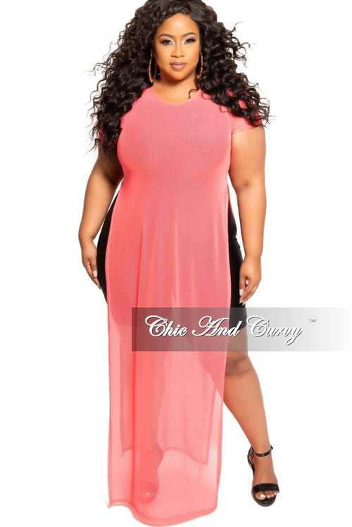 e6f915986319 Final Sale Plus Size Short Sleeve Mesh Top with Side Slits in Neon Coral  Pink