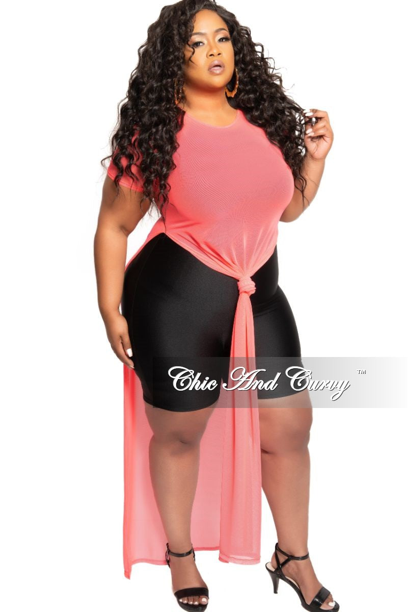 Final Sale Plus Size Short Sleeve Mesh Top with Side Slits in Neon Coral Pink