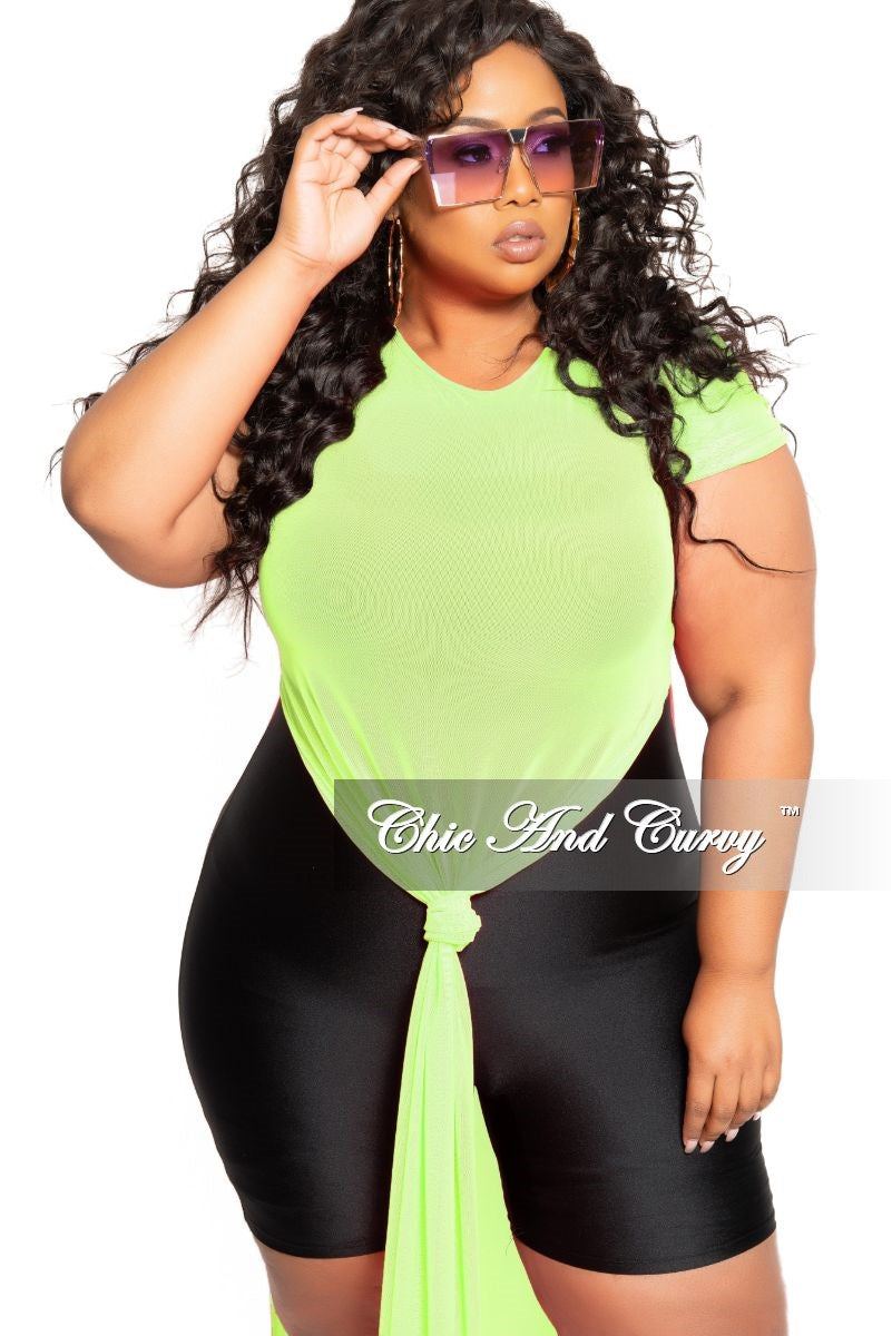 Final Sale Plus Size Short Sleeve Mesh Top with Side Slits in Neon Green