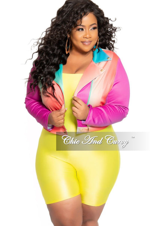 New Plus Size Collared Zip Jacket in Multi Color Tie Dye Print
