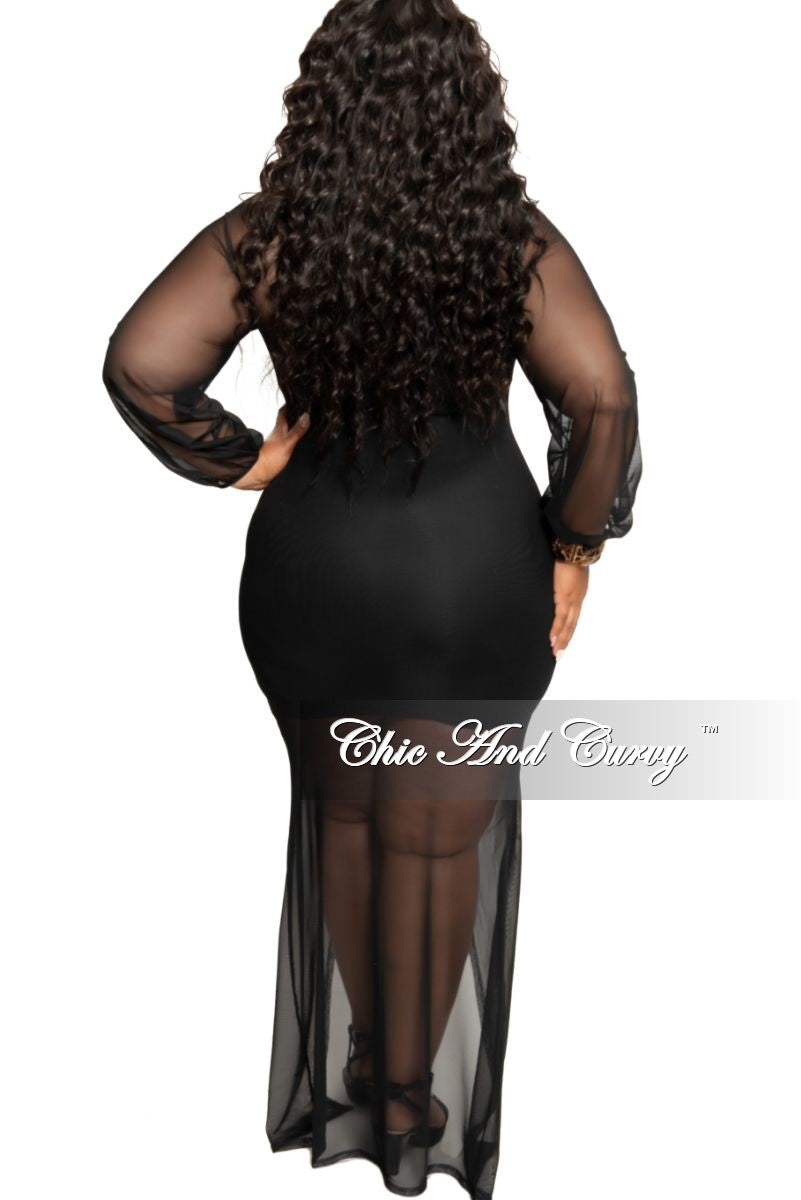 Final Sale Plus Size Long Sleeve Ruched Mesh Dress with Front Slit in Black