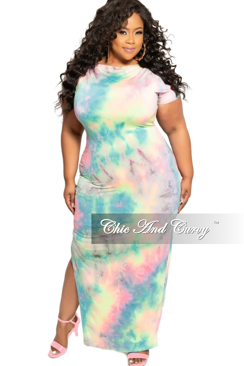 New Plus Size Short Sleeve Maxi with Side Slit in Multi Color Tie Dye Print