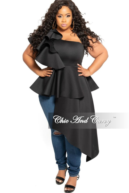 f4f76c35 New Plus Size Ruffle Shoulder Peplum Top with High-Low Side in Black