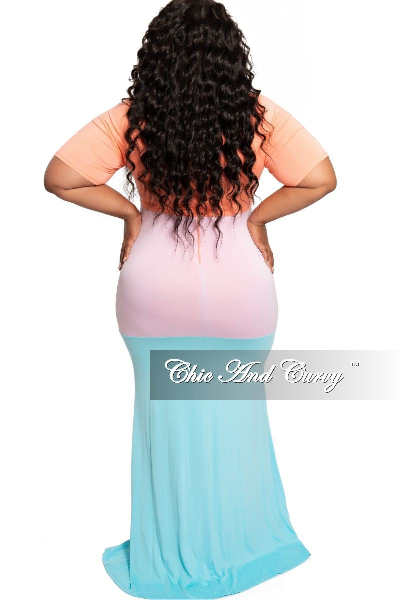New Plus Size Short Sleeve Maxi in Coral Light Purple and Aqua