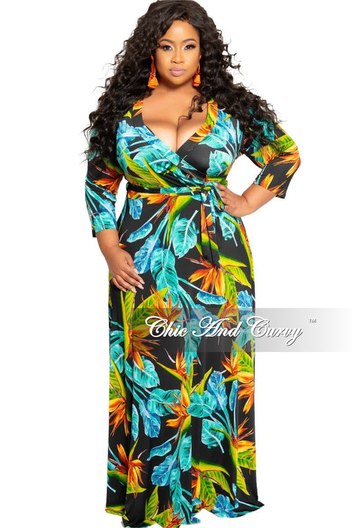 New Plus Size Deep V-Neck Faux Wrap Dress with 3/4 Sleeves in Black Teal and Green Floral Print