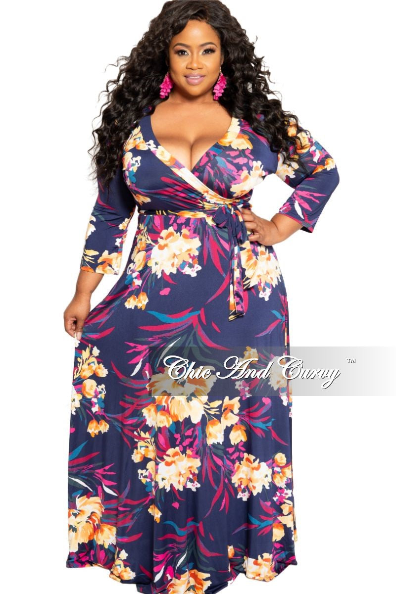 New Plus Size Deep V-Neck Faux Wrap Dress with 3/4 Sleeves in Navy Magenta and Yellow Floral Print