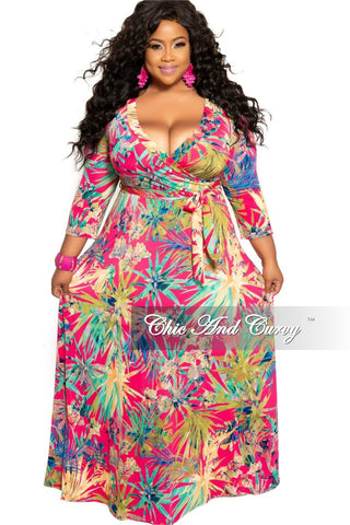 Final Sale Plus Size Long Dress with Keyhole in Poppy Orange