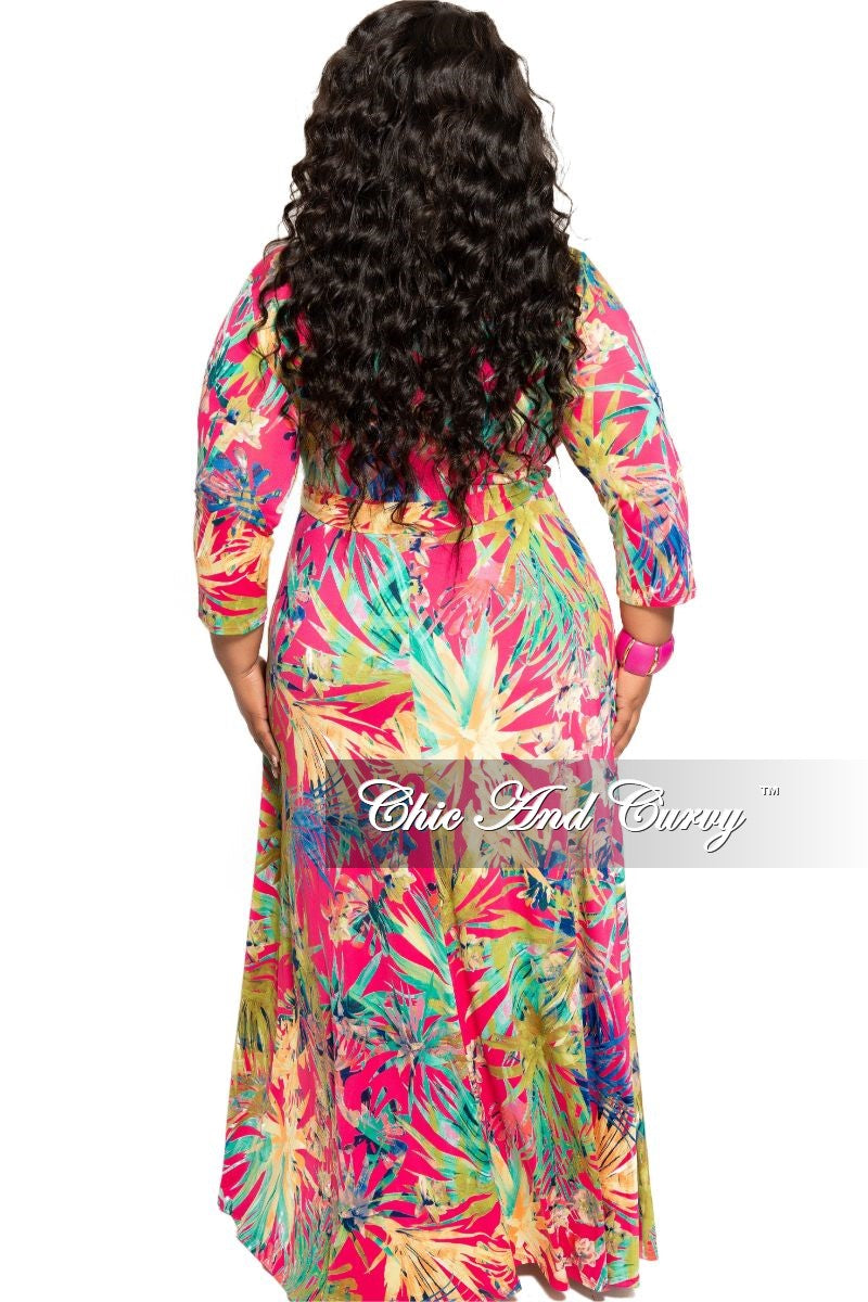 Final Sale Plus Size Deep V-Neck Faux Wrap Dress with 3/4 Sleeves in Hot Pink Multi Color Floral Print