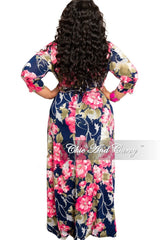Final Sale Plus Size Deep V-Neck Faux Wrap Dress with 3/4 Sleeves in Navy and Pink Floral Print