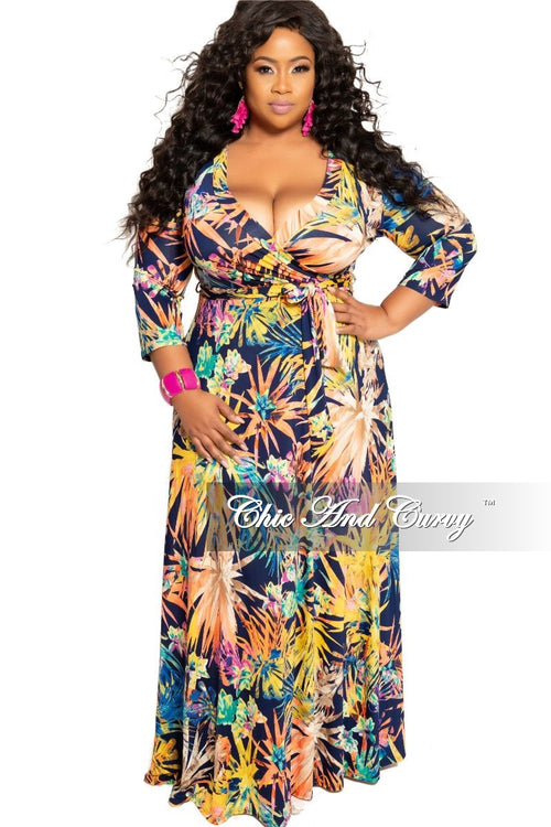 New Plus Size Deep V-Neck Faux Wrap Dress with 3/4 Sleeves in Navy Multi Color Floral Print