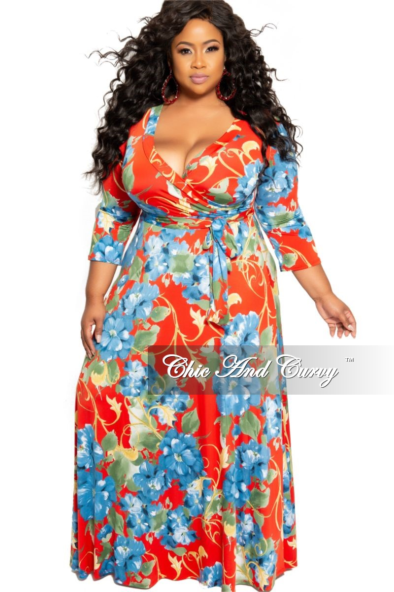 Final Sale Plus Size Deep V-Neck Faux Wrap Dress with 3/4 Sleeves in Red and Blue Floral Print