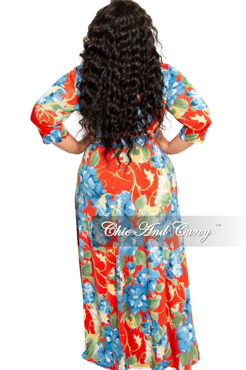 New Plus Size Deep V-Neck Faux Wrap Dress with 3/4 Sleeves in Red and Blue Floral Print