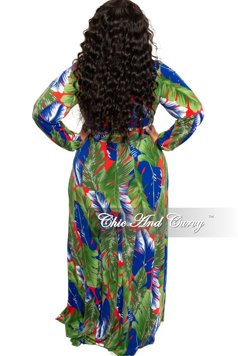 New Plus Size Faux Wrap Maxi with Attached Tie and Front Slit in Green Red and Royal Blue Leaf Print