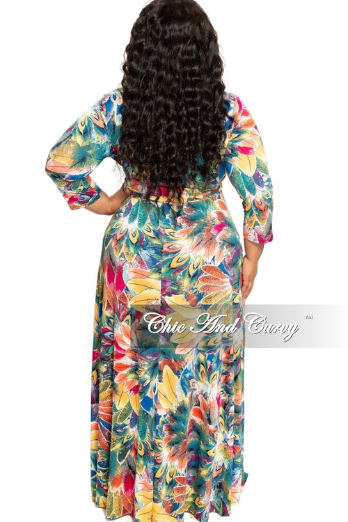 Final Sale Plus Size Deep V-Neck Faux Wrap Dress with 3/4 Sleeves in Multi Color Floral Print
