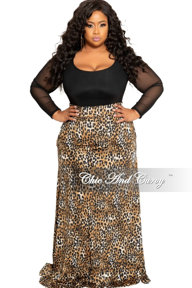 New Plus Size Long Maxi Skirt in Brown and Black Animal Print With Gold Foil
