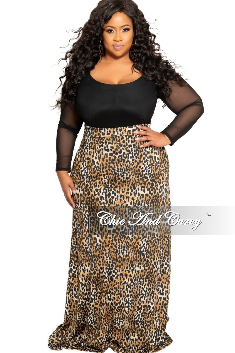 New Plus Size Long Maxi Skirt in Animal Foil Print