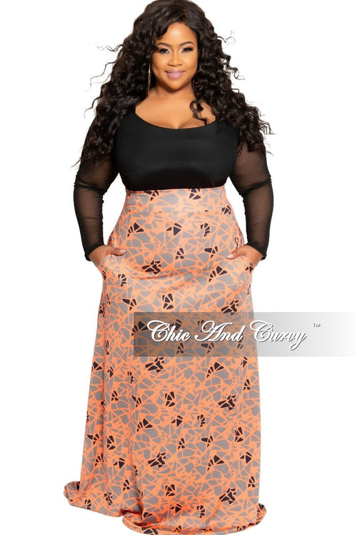 7f8fd37530 New Plus Size Long Maxi Skirt in Coral Grey and Black