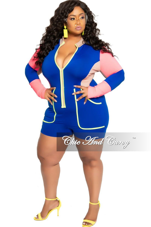 Final Sale Plus Size Long Sleeve Zip-Up Romper in Royal Blue Neon Pink and Tan with Neon Green Trim