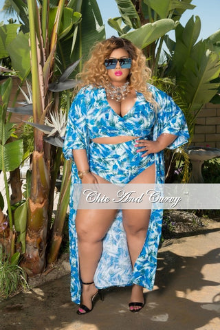 Final Sale Plus Size 3 Piece Play Suit Faux Wrap Crop Top with High Waist Bottom and Matching Coat in Blue, White and Green