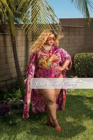 Final Sale Plus Size 3 Piece Play Suit Faux Wrap Crop Top with High Waist Bottom and Matching Coat in Pink, Magenta and Orange