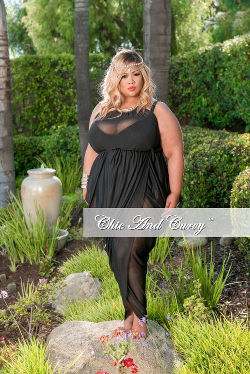Final Sale Plus Size Mesh Tulip Halter Cover-up / Dress in Black