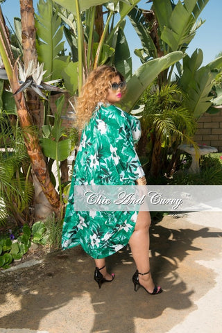 Final Sale Plus Size 3 Piece Play Suit Faux Wrap Crop Top with High Waist Bottom and Matching Coat in Green and White
