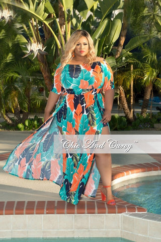 New Plus Size Off the Shoulder Floral Romper with Attached Skirt in Orange, Turquoise and Blue