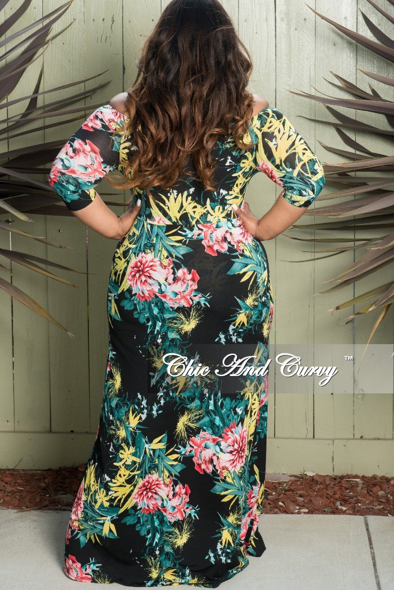 New Plus Size Off the Shoulder Halter Romper with Attached Long Skirt in Black Floral Print