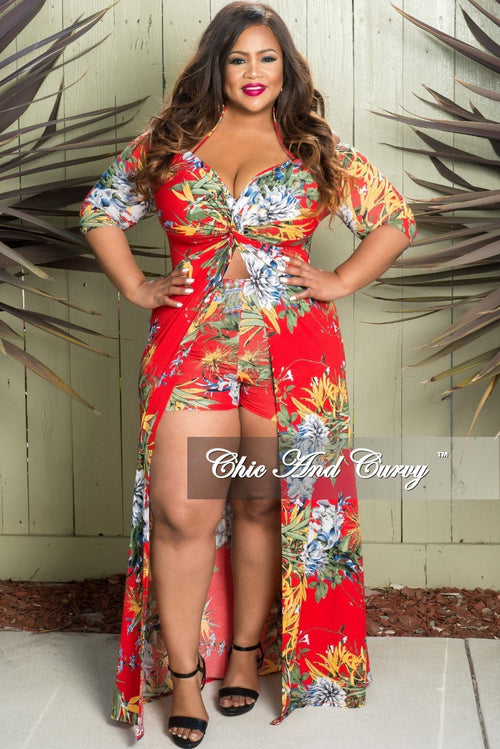 Final Sale Plus Size Off the Shoulder Halter Romper with Attached Long Skirt in Tomato Red Floral Print