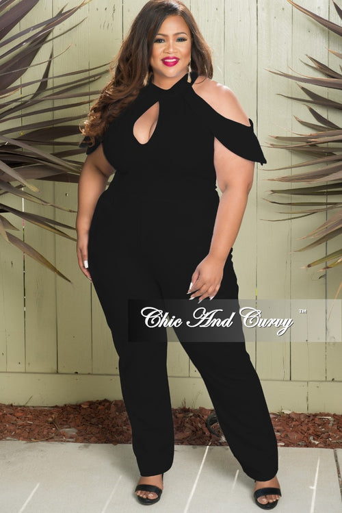 New Plus Size Cold Shoulder Jumpsuit with Back Zipper in Black