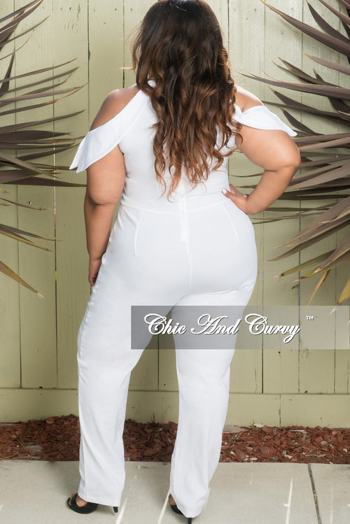 Final Sale Plus Size Cold Shoulder Jumpsuit with Back Zipper in White