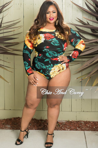 ea96e5827b43a Final Sale Plus Size 2-Piece Crop Top and Brief PlaySuit in Yellow Floral  Print