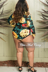 Final Sale Plus Size 2-Piece Crop Top and Brief PlaySuit in Yellow Floral Print