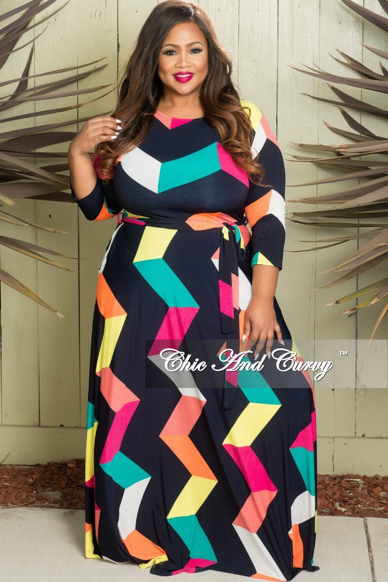 1dc885b4c2 Final Sale Plus Size Long Sleeve Dress with Tie and Side Pockets in Mu –  Chic And Curvy
