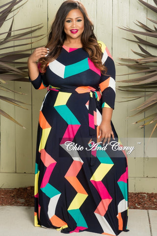 4042baa4e5 New Plus Size Long Sleeve Dress with Tie and Side Pockets in Multi Color  Zig Zag Print
