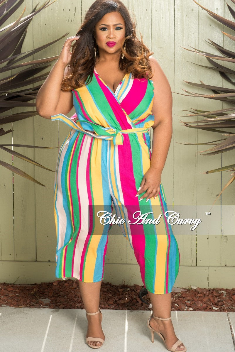 New Plus Size Sleeveless Stripe Faux Wrap Jumpsuit in Hot Pink Sky Blue Green and Mustard