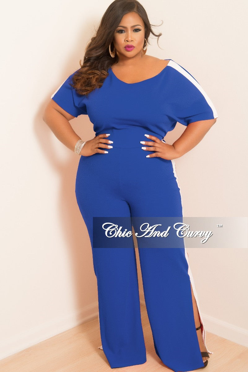 b19a381d6 Final Sale Plus Size Wide Leg Jumpsuit with Bottom Slits and White Tri –  Chic And Curvy