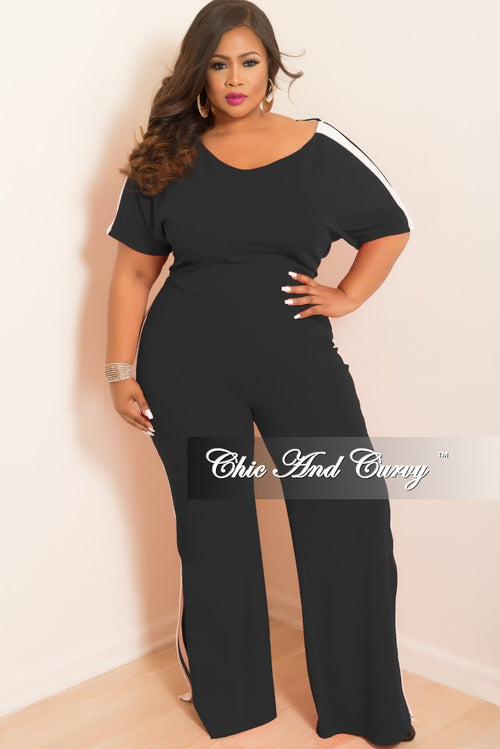 Final Sale Plus Size Wide Leg Jumpsuit with Bottom Slits and White Trim in Black