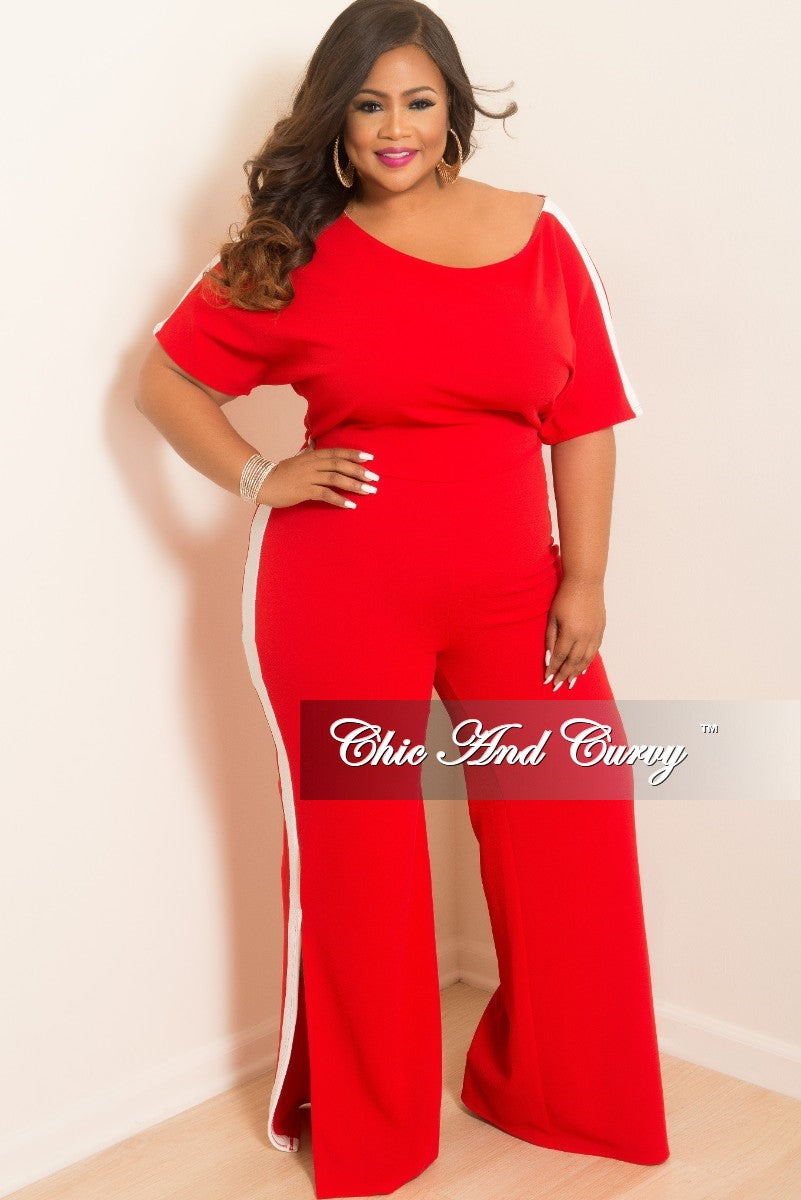 8ded32f45f02 Final Sale Plus Size Wide Leg Jumpsuit with Bottom Slits and White Tri –  Chic And Curvy