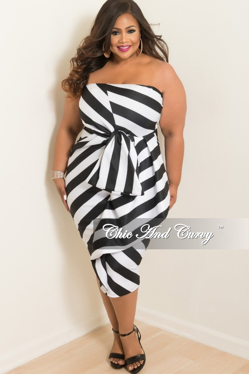 Final Sale Plus Size Stripe Tube Dress in Black and White