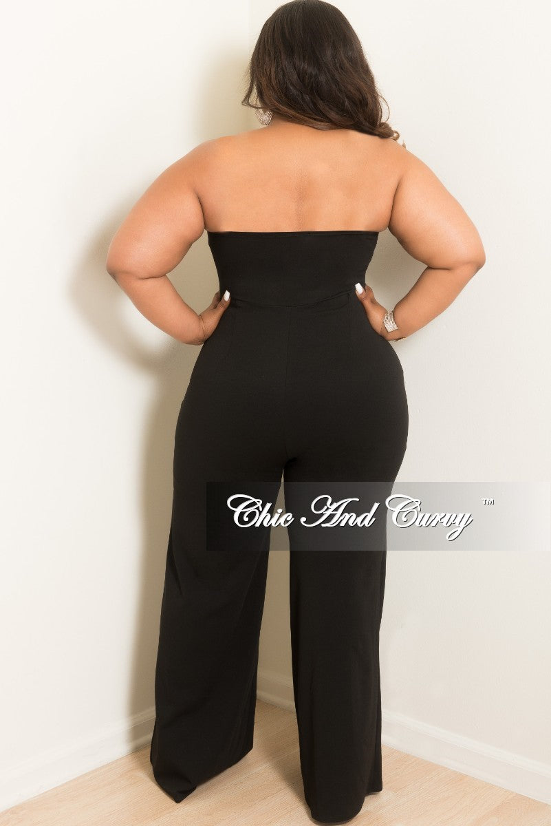 New Plus Size Strapless Jumpsuit with Attached Tie in Black