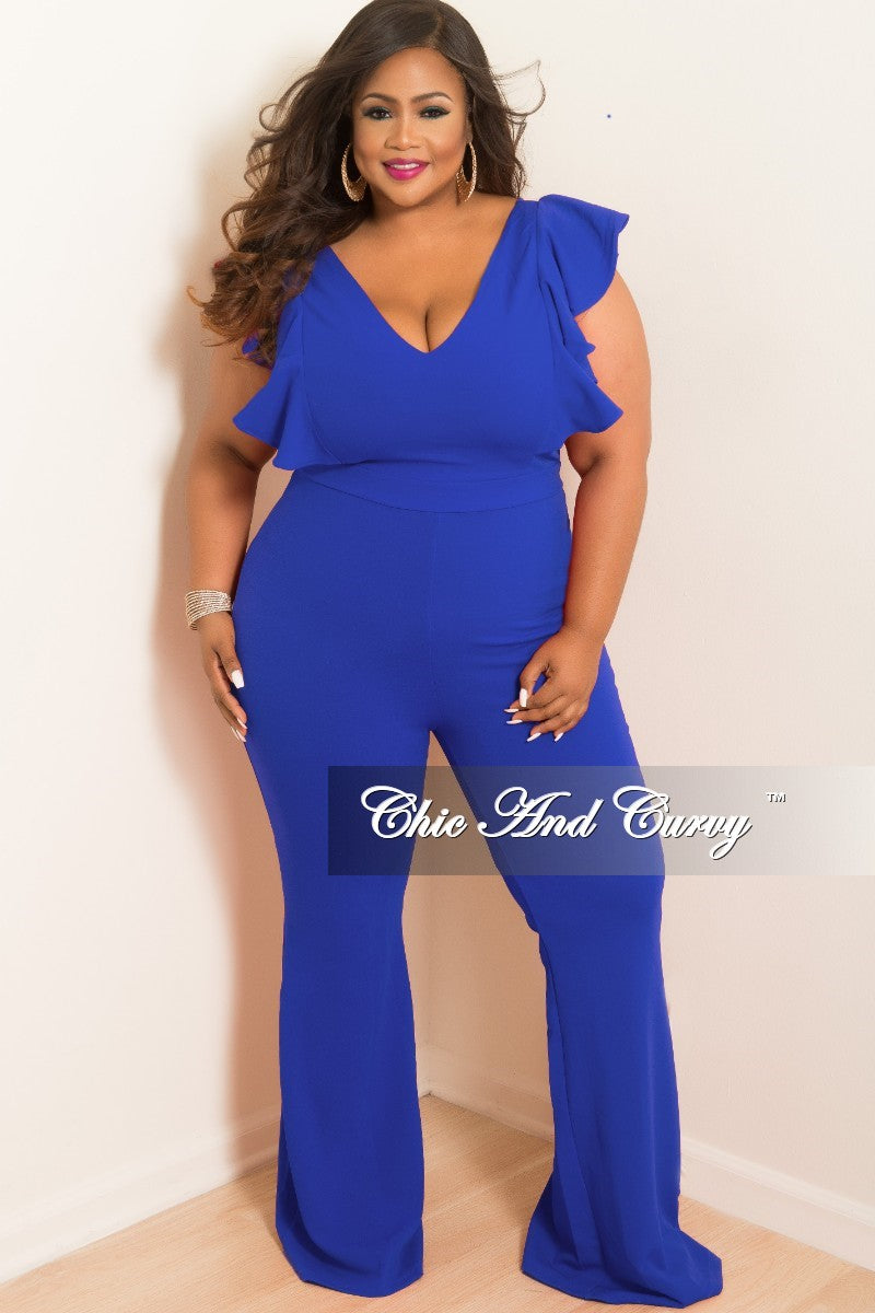 Final Sale Plus Size V Neck Jumpsuit With Ruffle Sleeves And Back