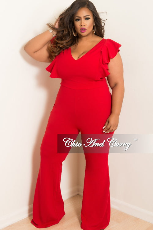 Final Sale Plus Size V-Neck Jumpsuit with Ruffle Sleeves and Back Zipper in Red