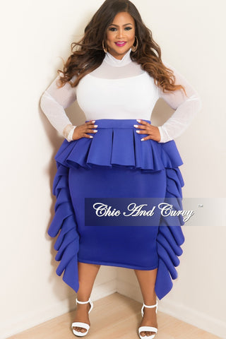 d23aeb3aff8ff Final Sale Plus Size Ruffle Dress   Skirt in Royal Blue Scuba Material.    89.00. New Plus Size Plus Size Marilyn Monroe Long Sleeve Top with Shredded  Back ...